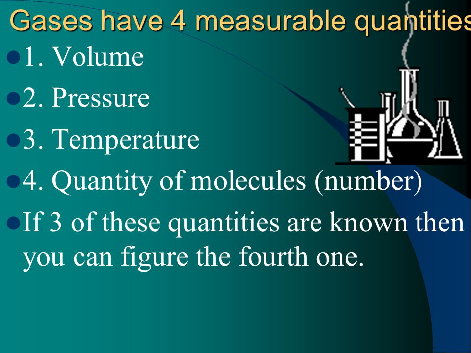 Gases have 4 measurable quantities