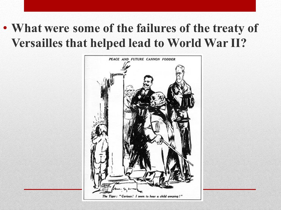 What were some of the failures of the treaty of Versailles that helped lead to World War II
