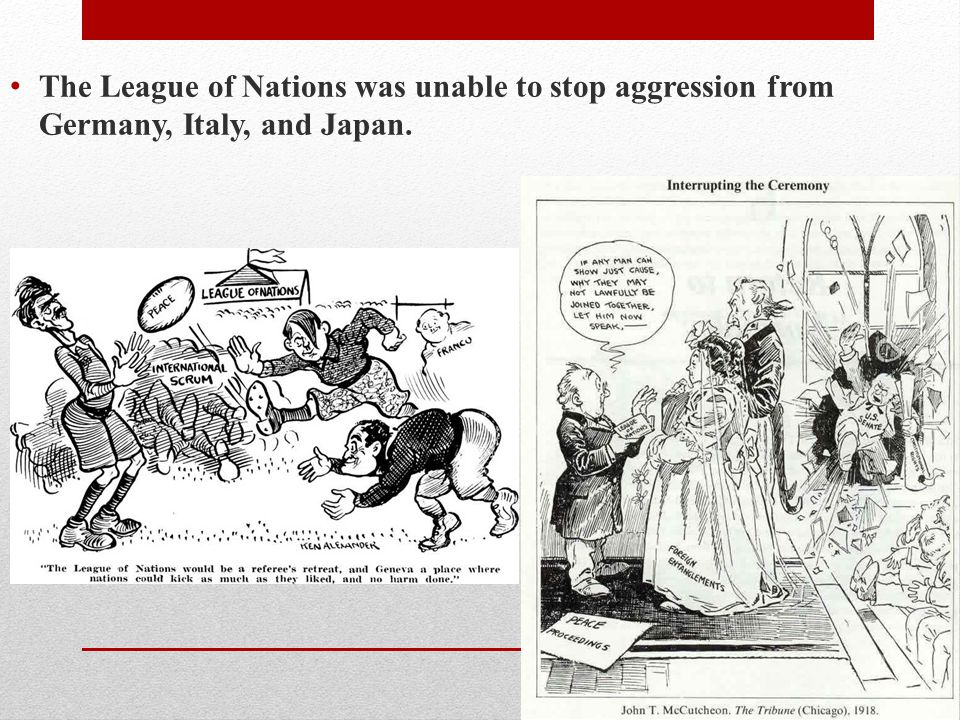 The League of Nations was unable to stop aggression from Germany, Italy, and Japan.