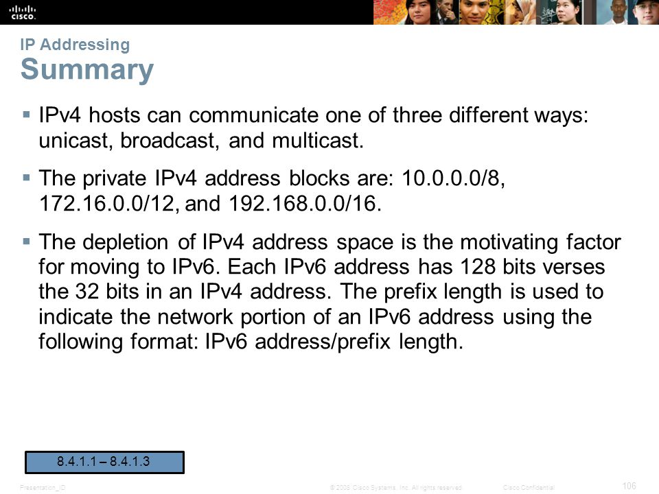 IP Addressing Summary IPv4 hosts can communicate one of three different ways: unicast, broadcast, and multicast.