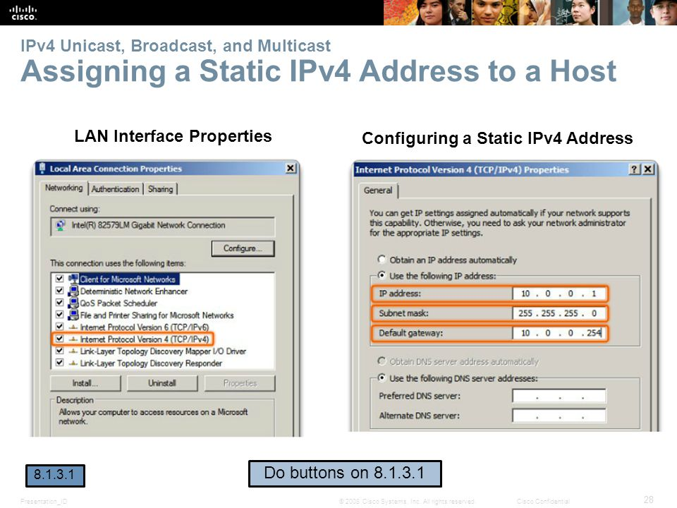 LAN Interface Properties Configuring a Static IPv4 Address