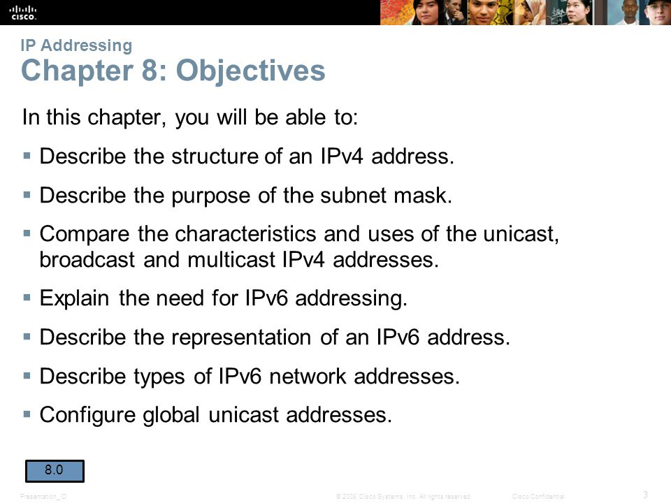 IP Addressing Chapter 8: Objectives