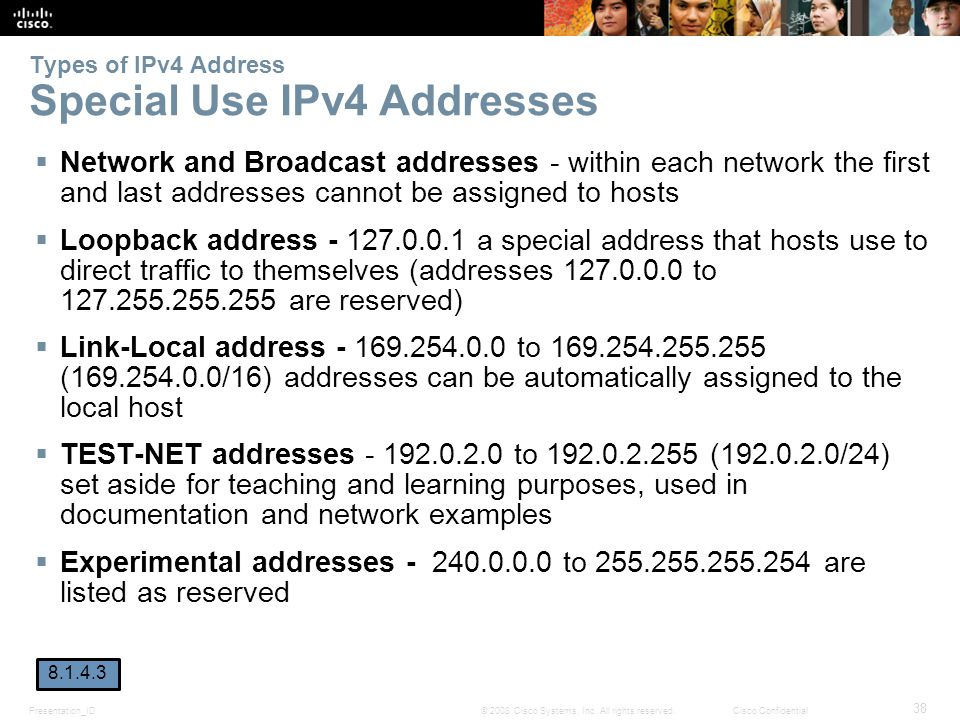 Types of IPv4 Address Special Use IPv4 Addresses