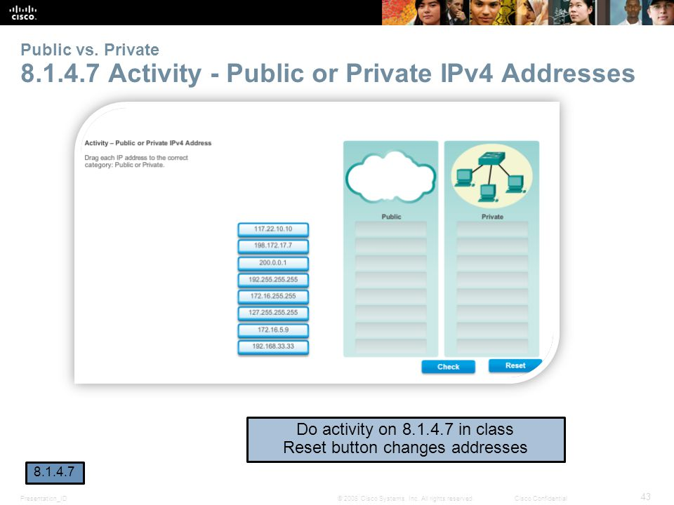 Public vs. Private 8.1.4.7 Activity - Public or Private IPv4 Addresses