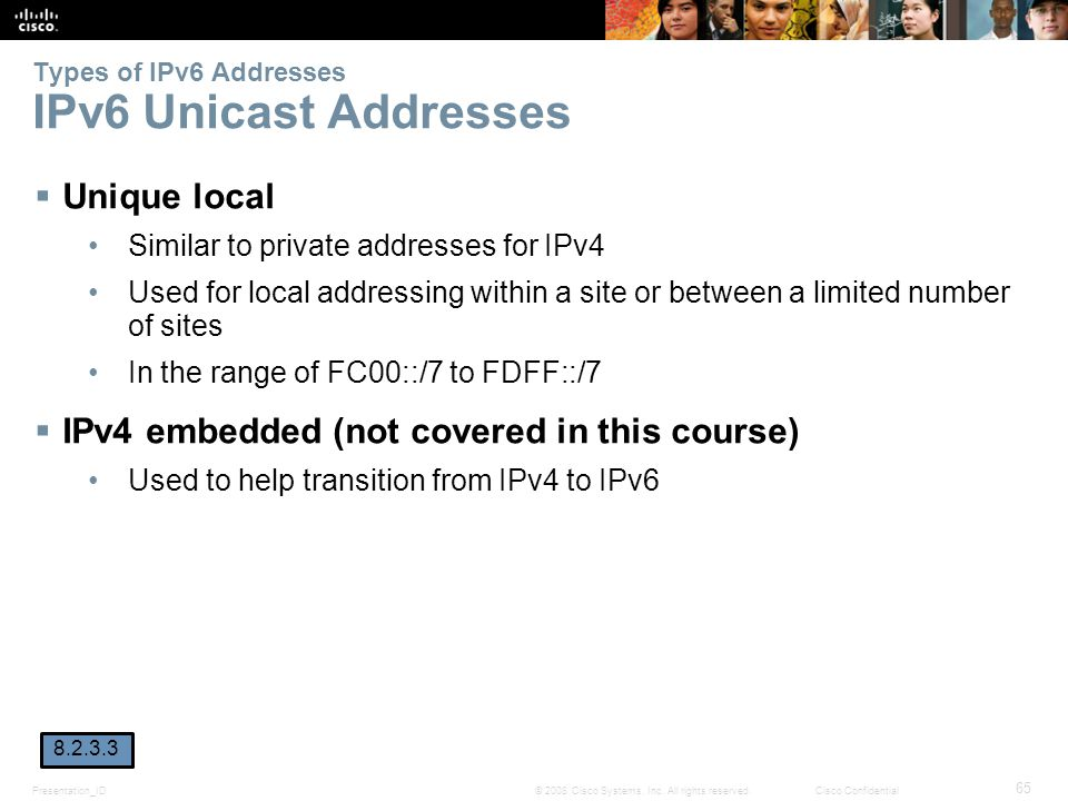 Types of IPv6 Addresses IPv6 Unicast Addresses