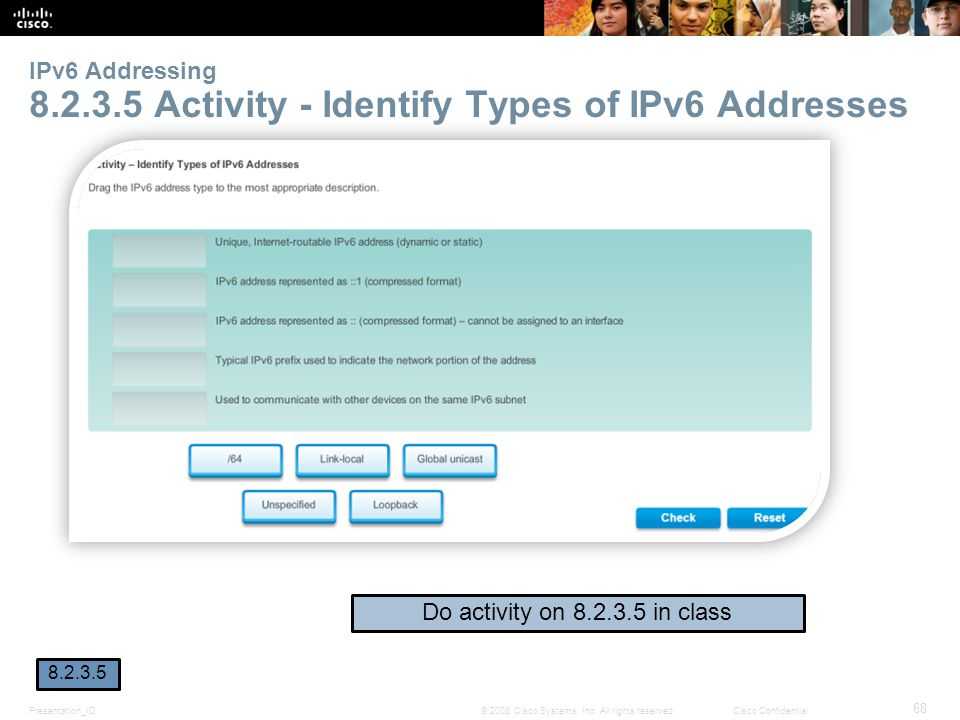 IPv6 Addressing 8.2.3.5 Activity - Identify Types of IPv6 Addresses