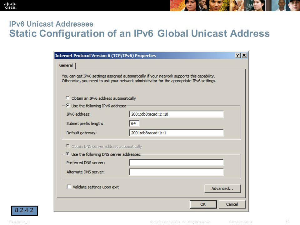 IPv6 Unicast Addresses Static Configuration of an IPv6 Global Unicast Address