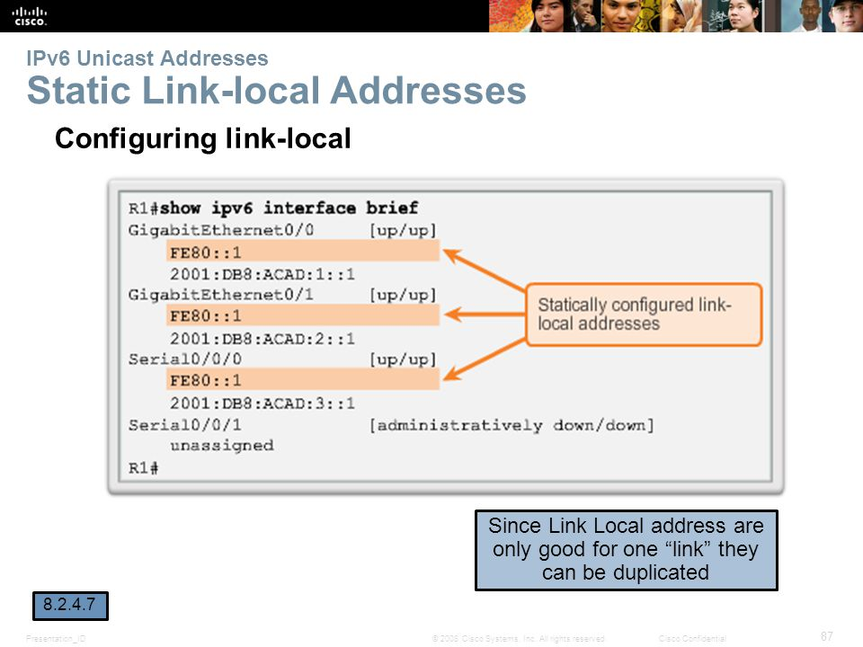 IPv6 Unicast Addresses Static Link-local Addresses