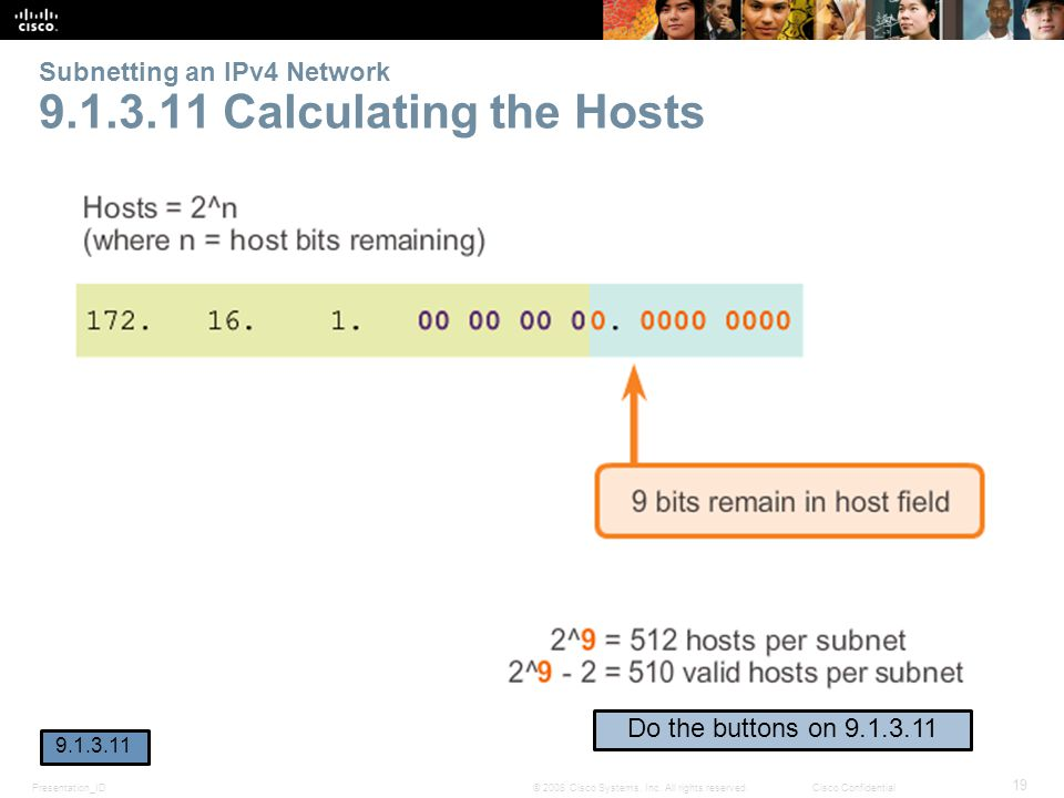 Subnetting an IPv4 Network 9.1.3.11 Calculating the Hosts