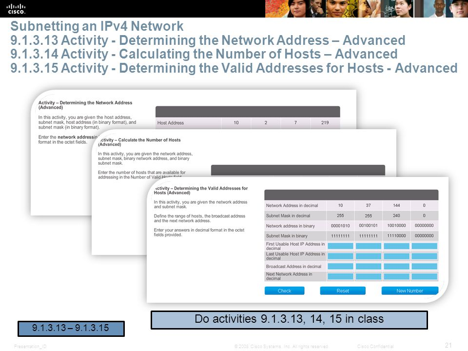 Subnetting an IPv4 Network 9. 1. 3