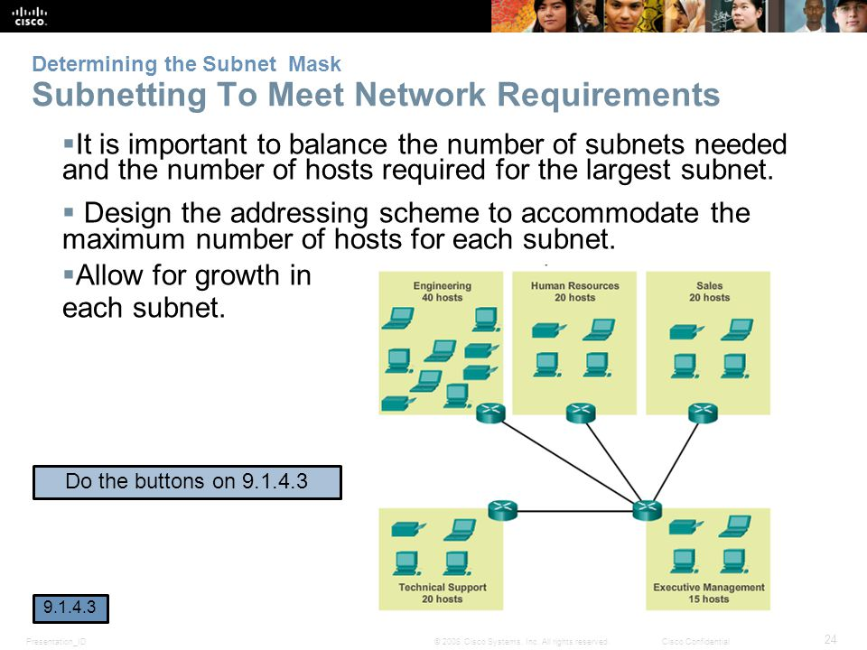 Determining the Subnet Mask Subnetting To Meet Network Requirements
