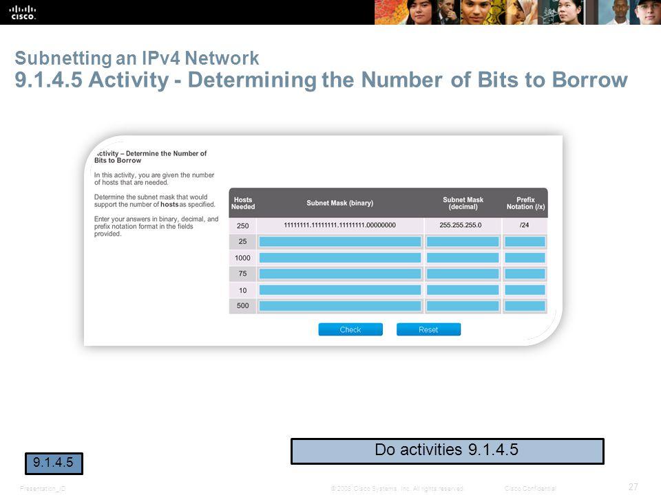 Subnetting an IPv4 Network 9. 1. 4