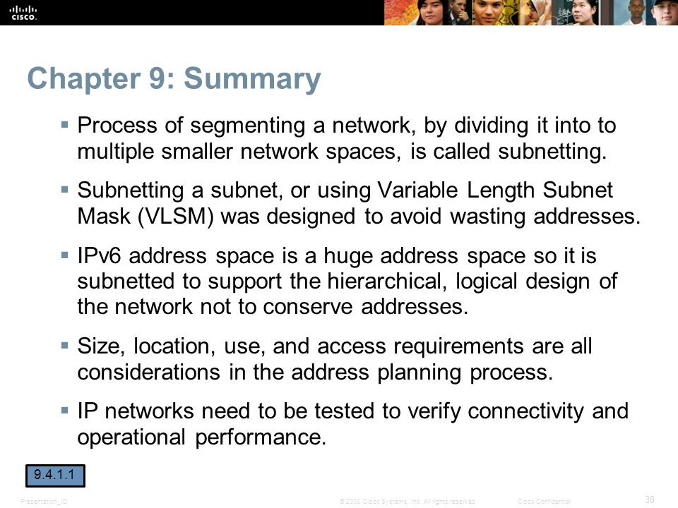Chapter 9: Summary Process of segmenting a network, by dividing it into to multiple smaller network spaces, is called subnetting.