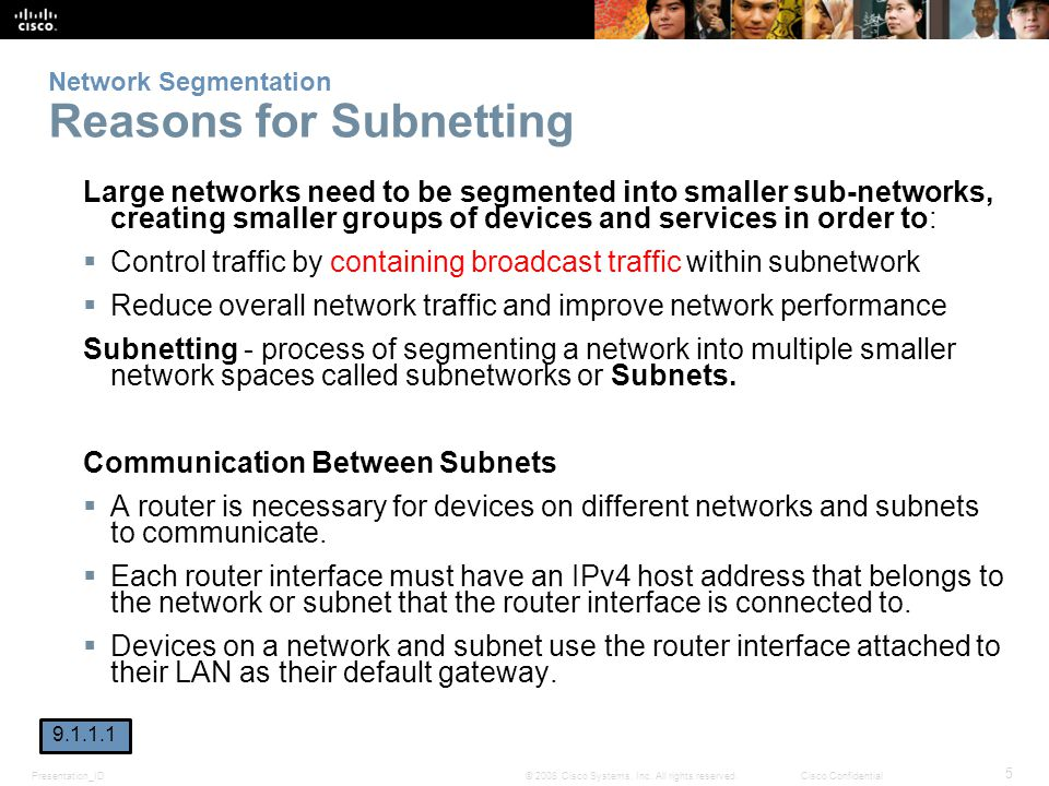 Network Segmentation Reasons for Subnetting
