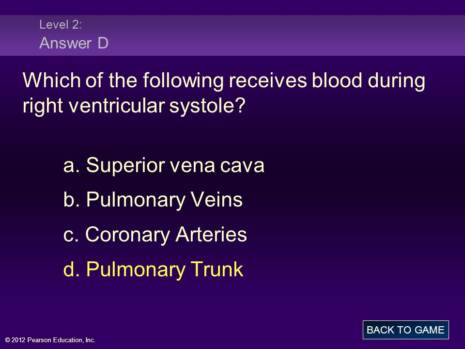 Level 2: Answer D Which of the following receives blood during right ventricular systole a. Superior vena cava.