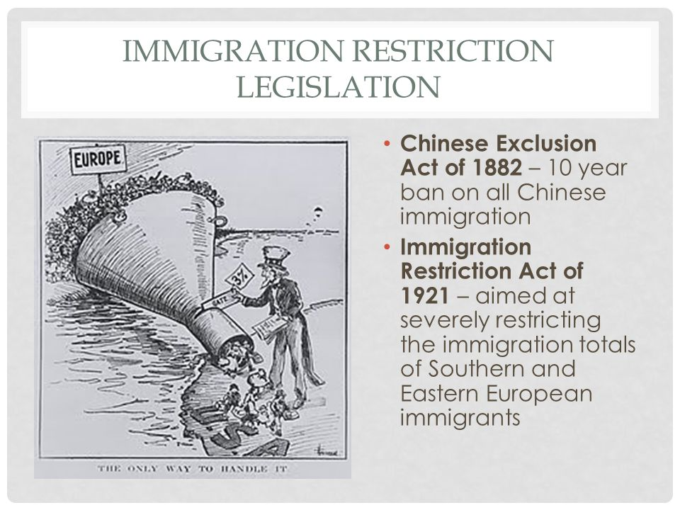 Immigration Restriction Legislation