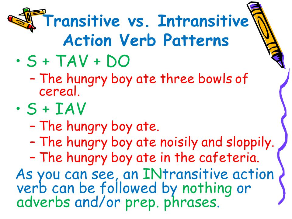 Transitive vs. Intransitive Action Verb Patterns