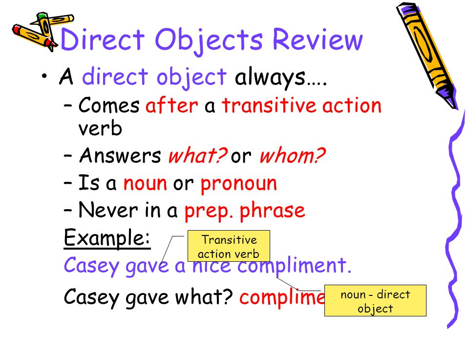 Transitive action verb