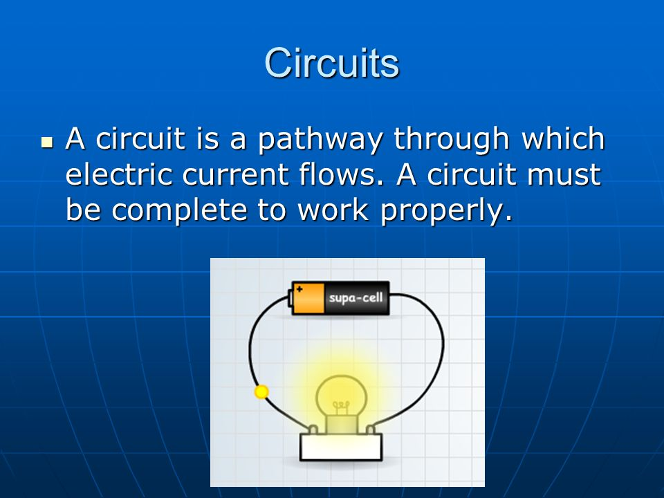 Circuits A circuit is a pathway through which electric current flows.