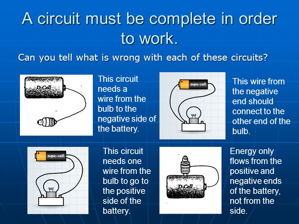 A circuit must be complete in order to work.