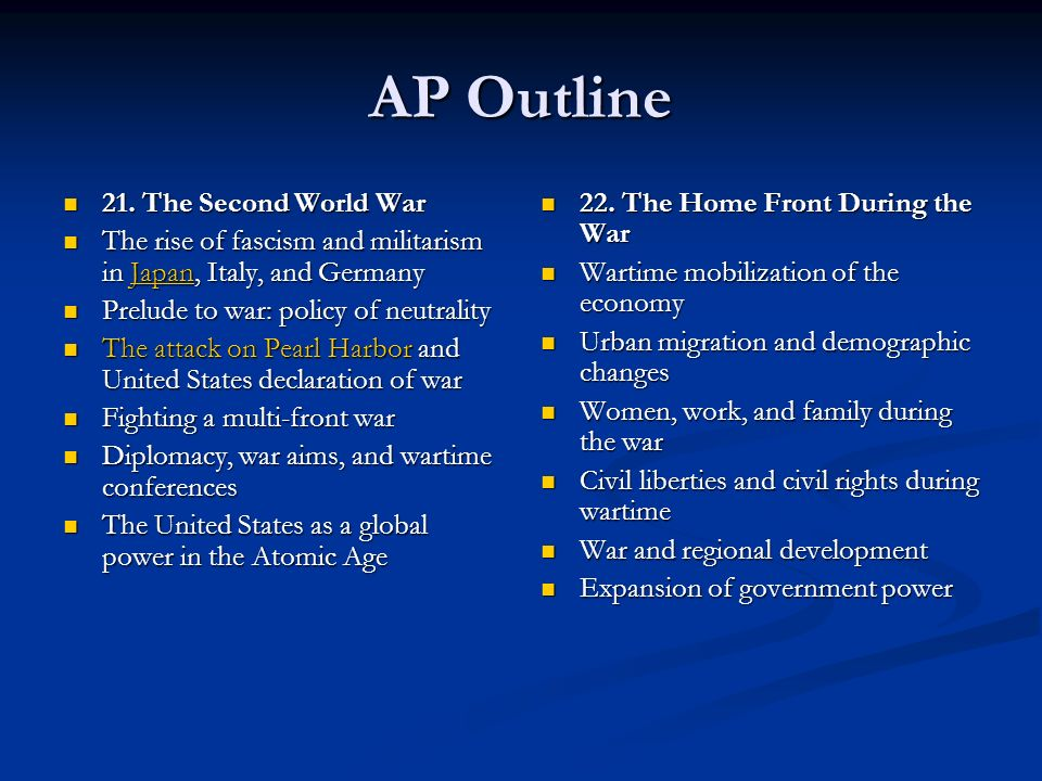 AP Outline 21. The Second World War