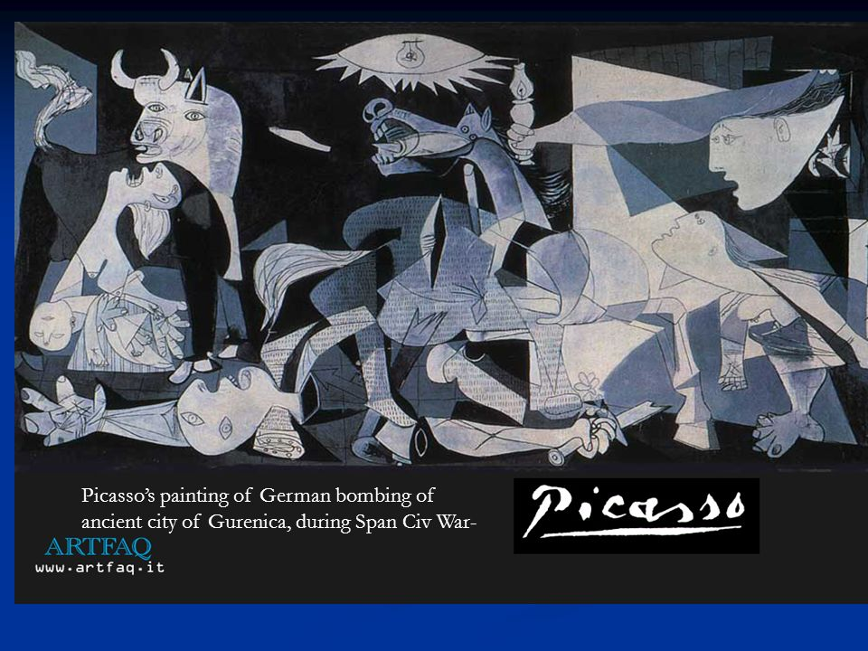 Picasso's painting of German bombing of ancient city of Gurenica, during Span Civ War-
