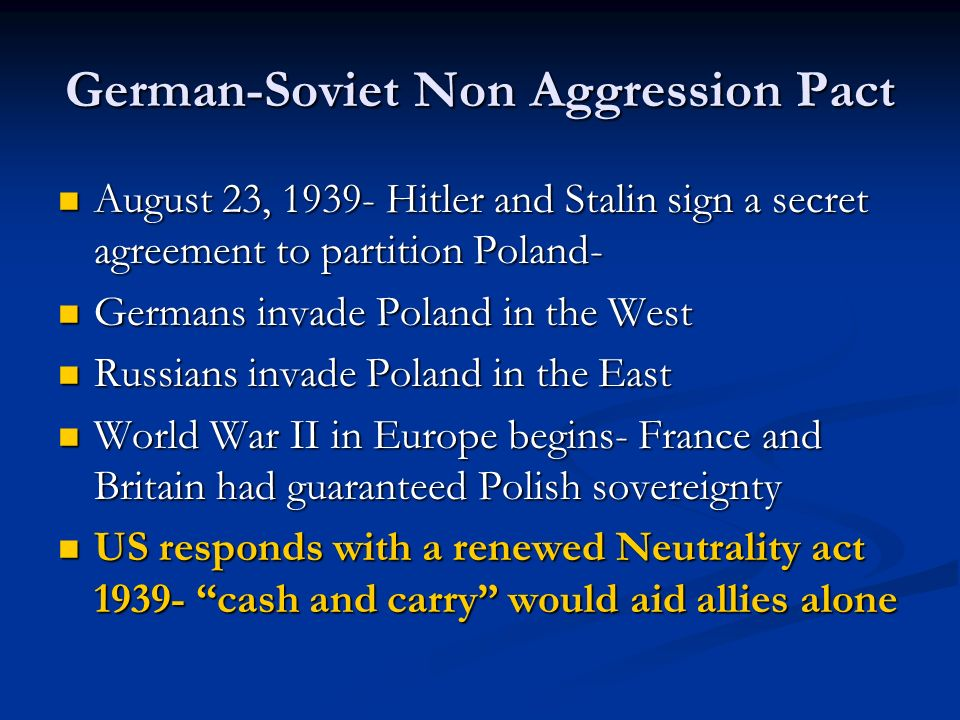German-Soviet Non Aggression Pact