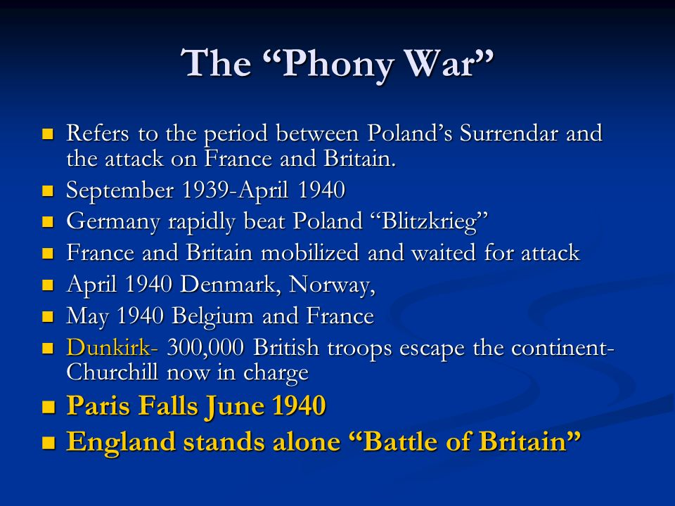 The Phony War Paris Falls June 1940