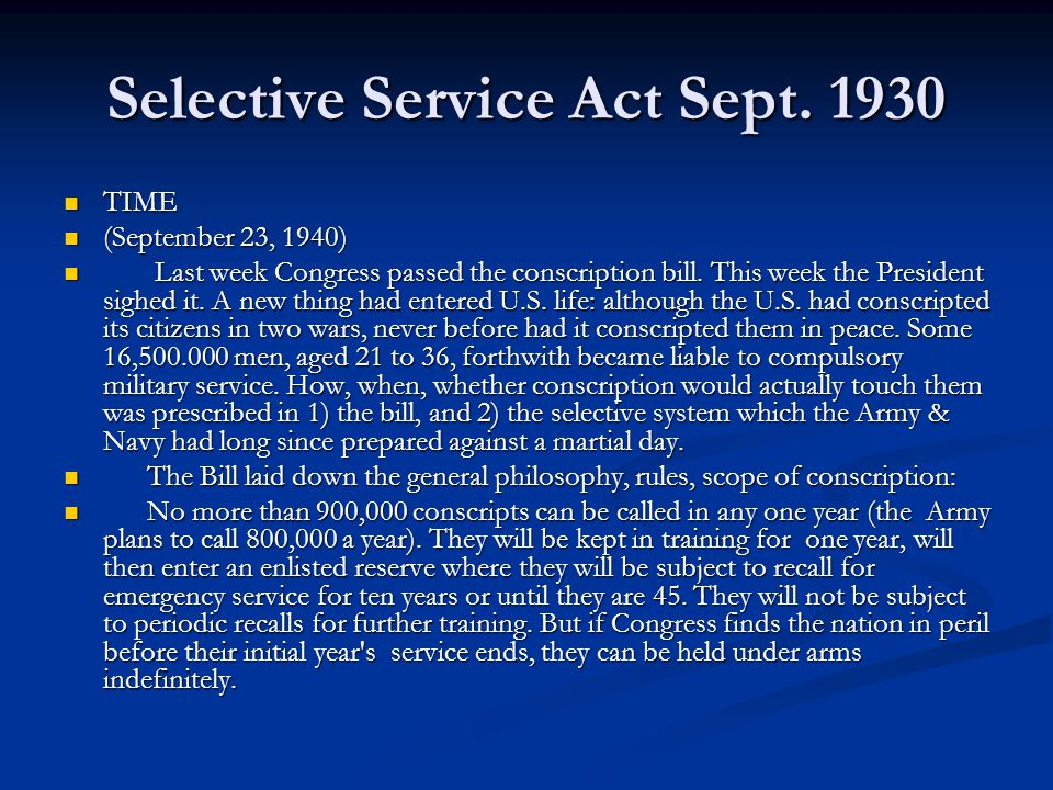 Selective Service Act Sept. 1930