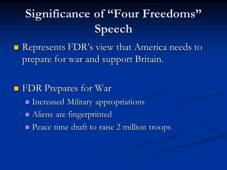 Significance of Four Freedoms Speech