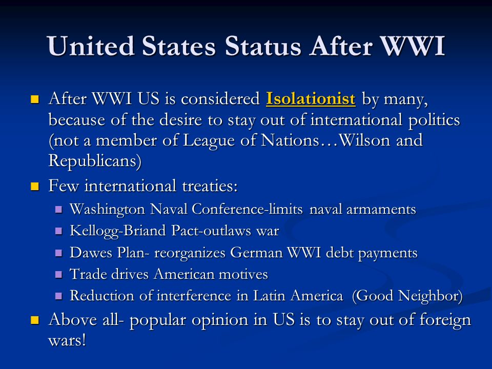 United States Status After WWI