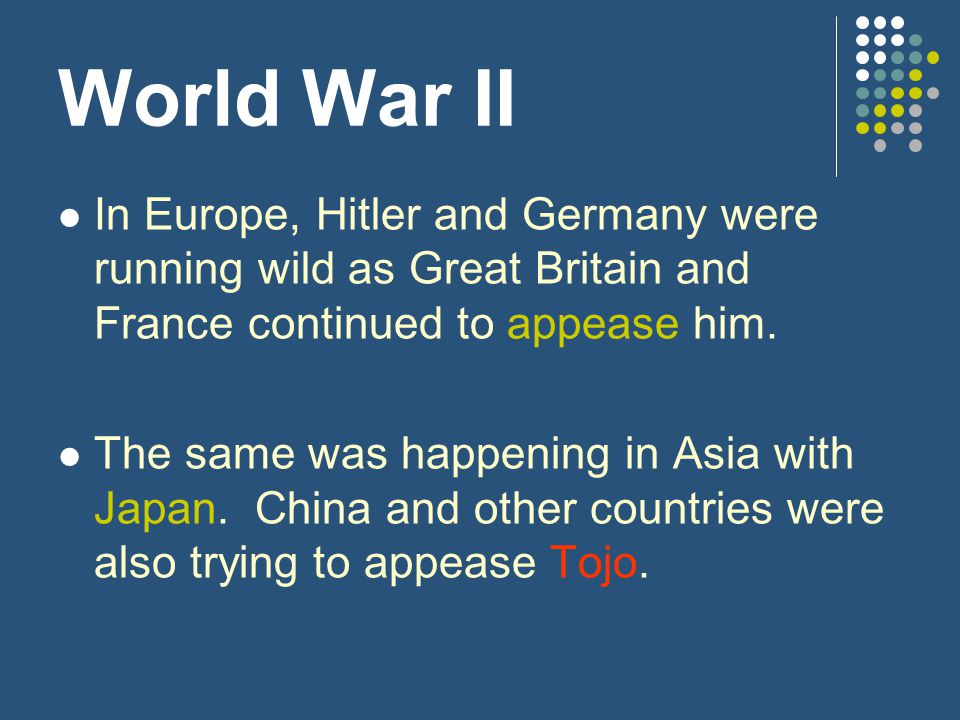 World War II In Europe, Hitler and Germany were running wild as Great Britain and France continued to appease him.