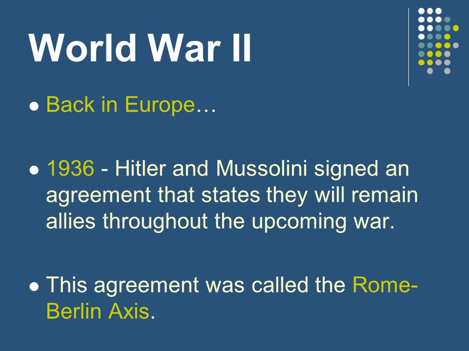 World War II Back in Europe…