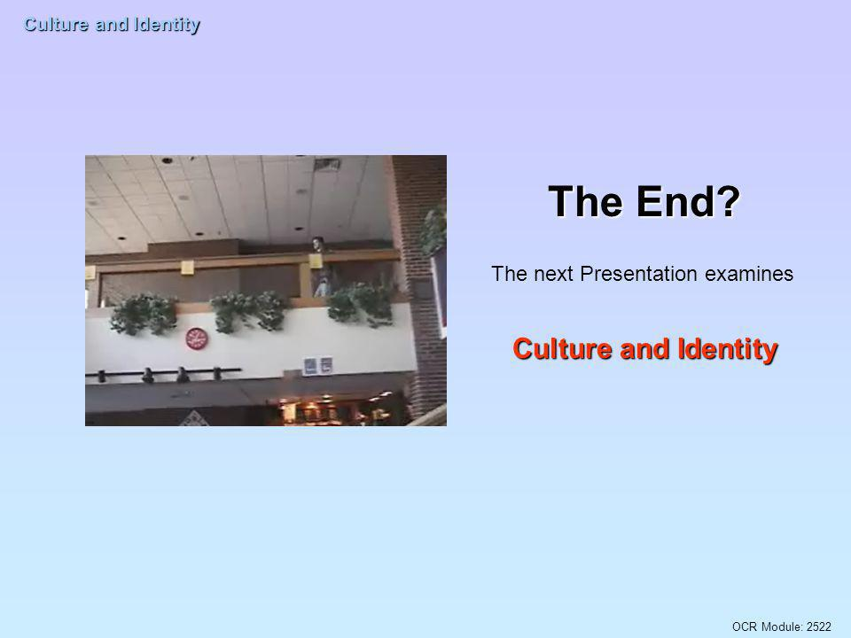The End The next Presentation examines Culture and Identity