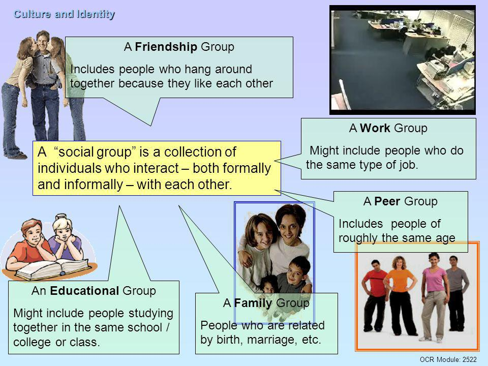A Friendship Group Includes people who hang around together because they like each other. A Work Group.
