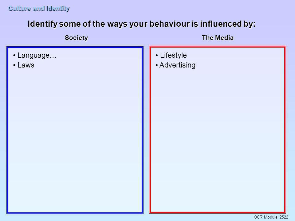 Identify some of the ways your behaviour is influenced by: