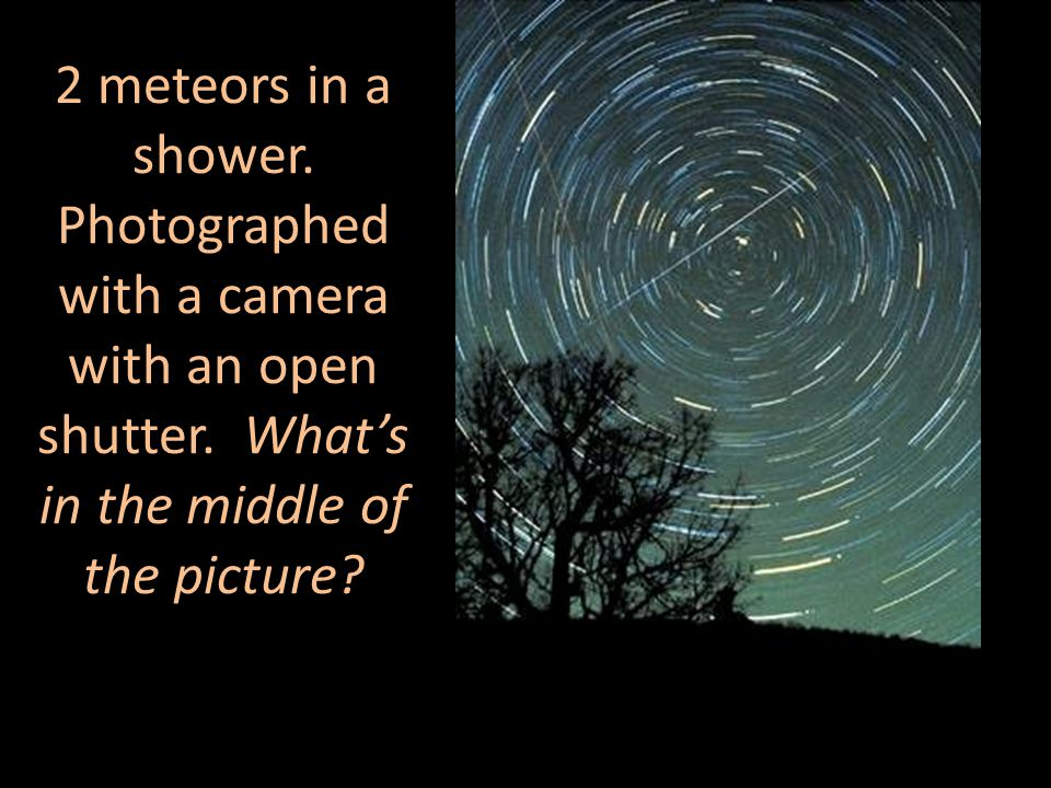 2 meteors in a shower. Photographed with a camera with an open shutter