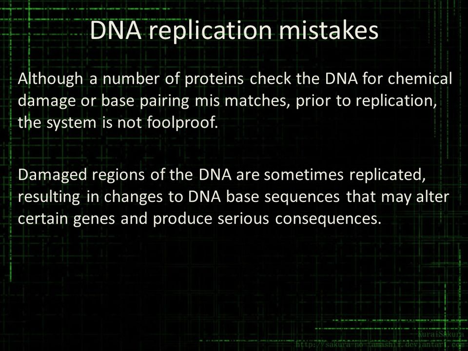 DNA replication mistakes