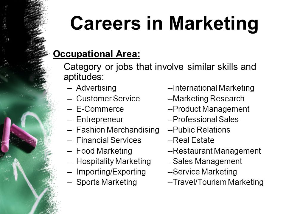 Careers in Marketing Occupational Area: