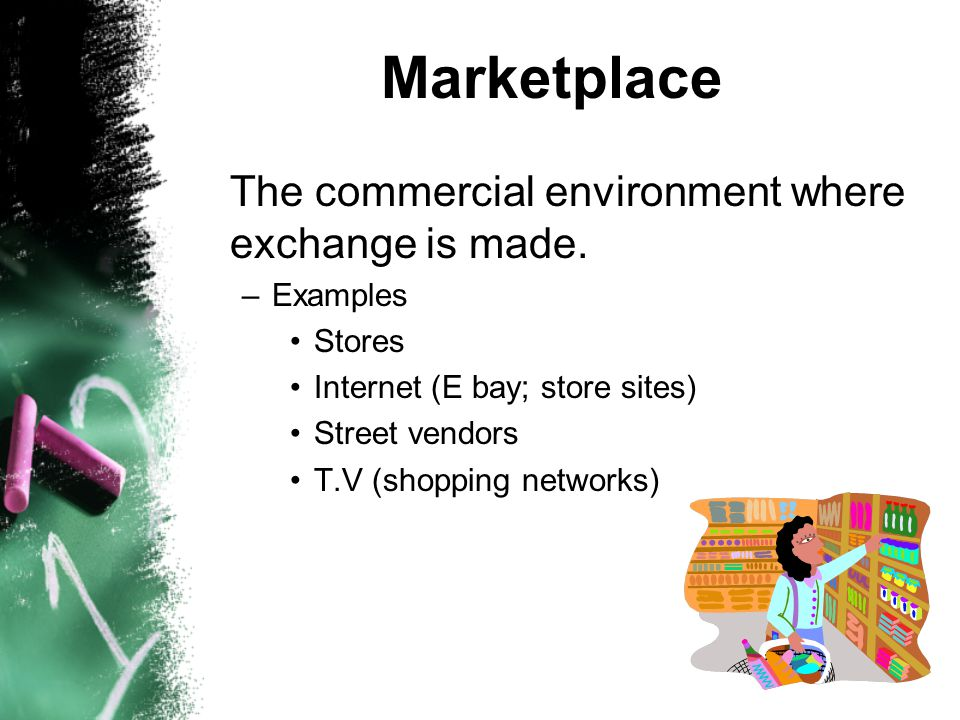 Marketplace The commercial environment where exchange is made.