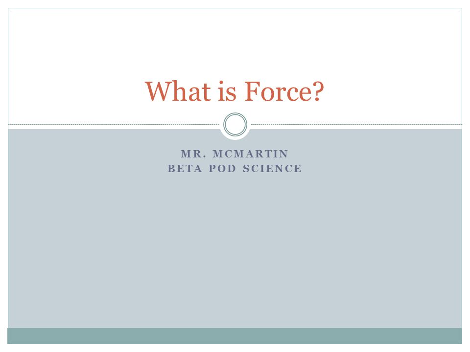 Mr. McMartin Beta Pod Science