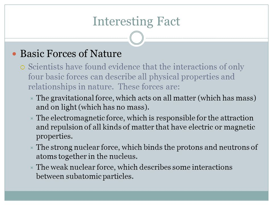 Interesting Fact Basic Forces of Nature