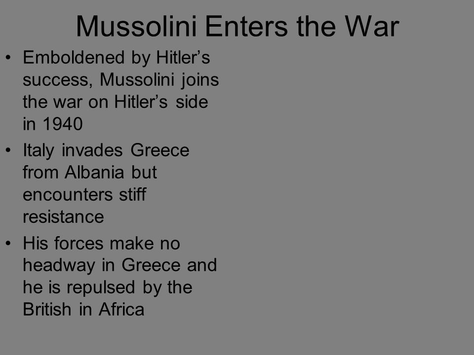Mussolini Enters the War