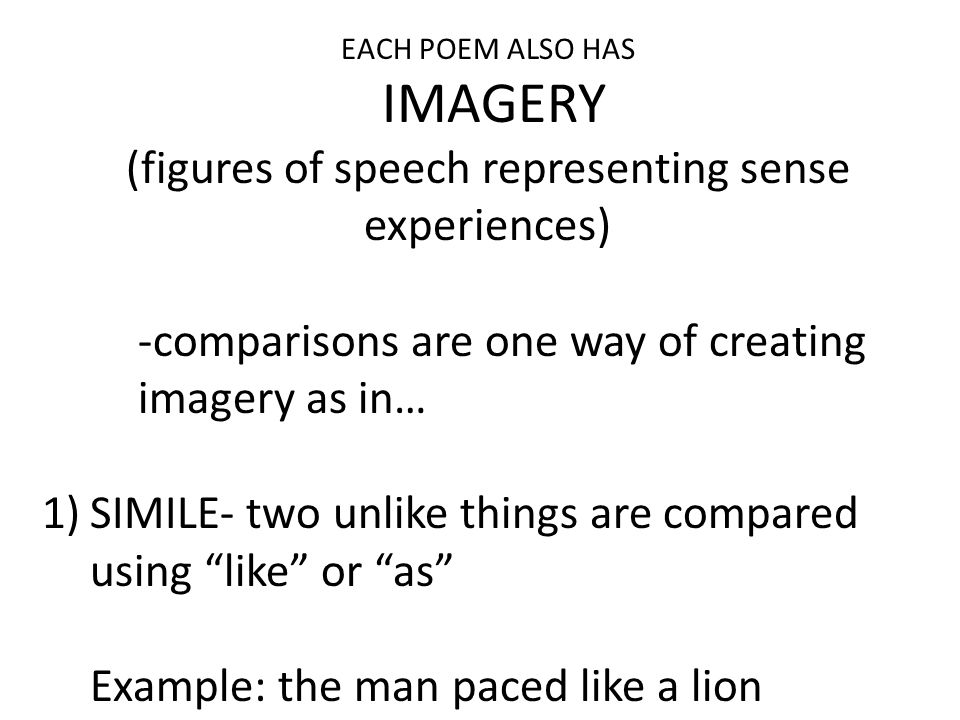 (figures of speech representing sense experiences)