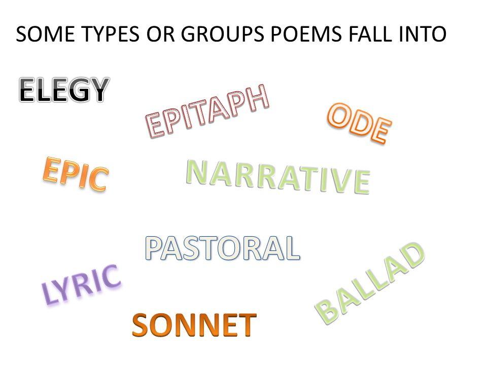 SOME TYPES OR GROUPS POEMS FALL INTO