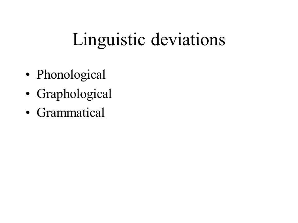 Linguistic deviations