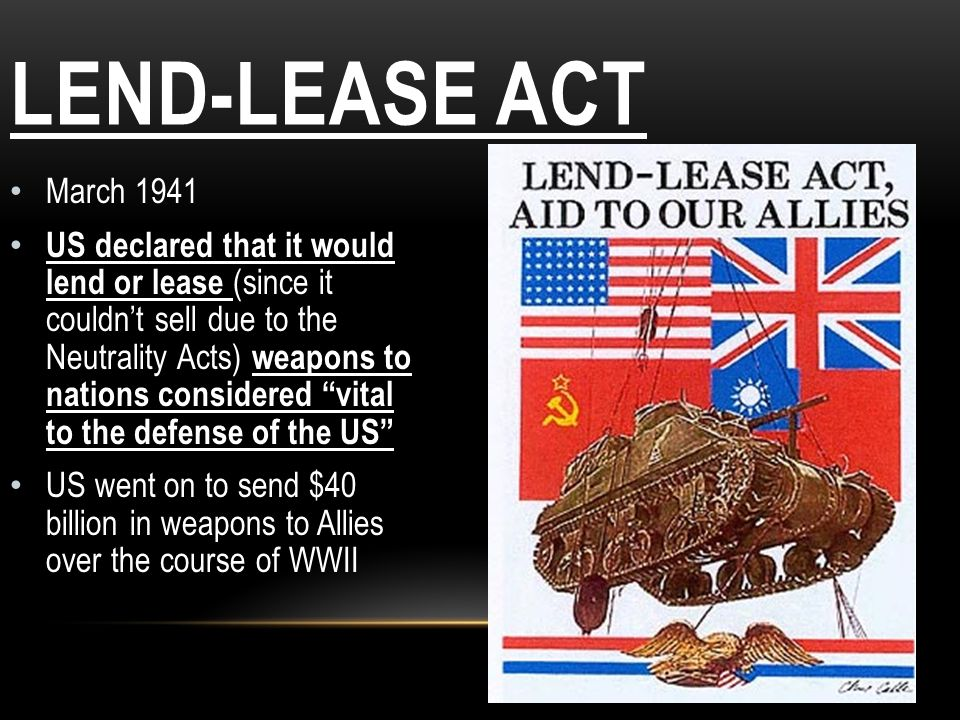 Lend-Lease Act March 1941.