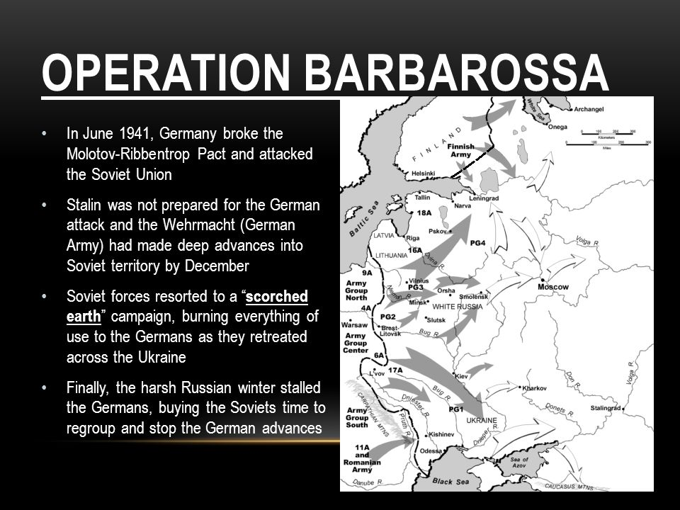 Operation Barbarossa In June 1941, Germany broke the Molotov-Ribbentrop Pact and attacked the Soviet Union.