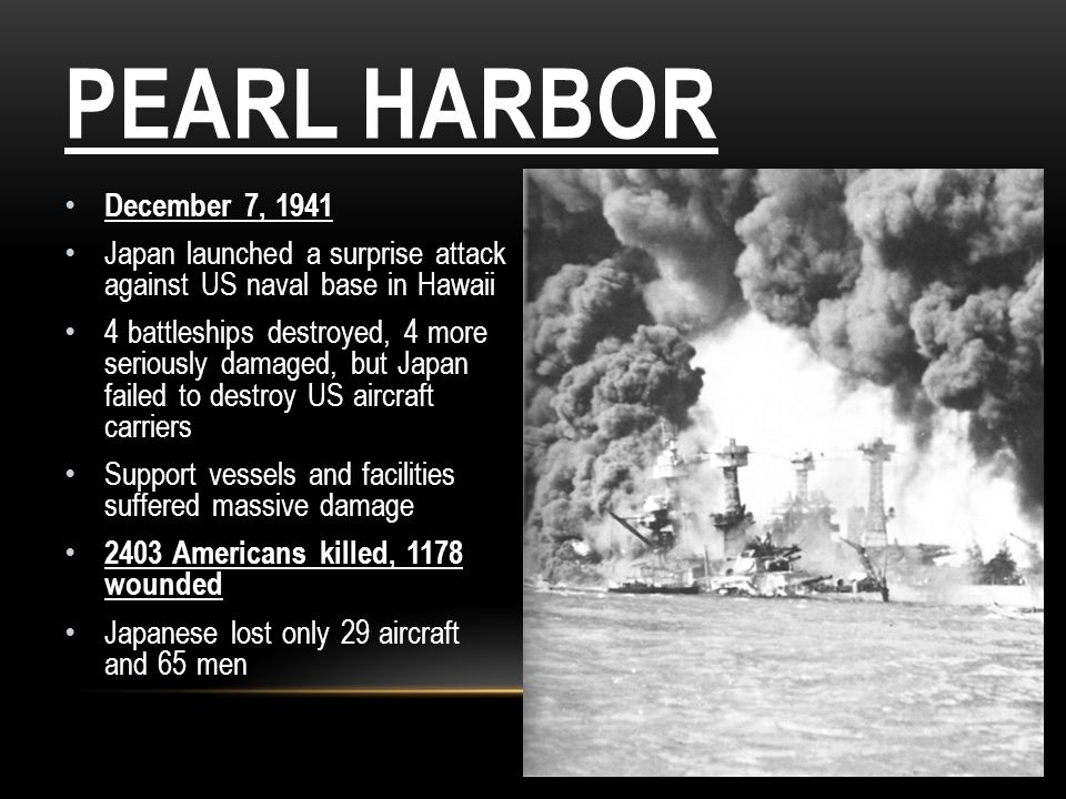 Pearl Harbor December 7, Japan launched a surprise attack against US naval base in Hawaii.