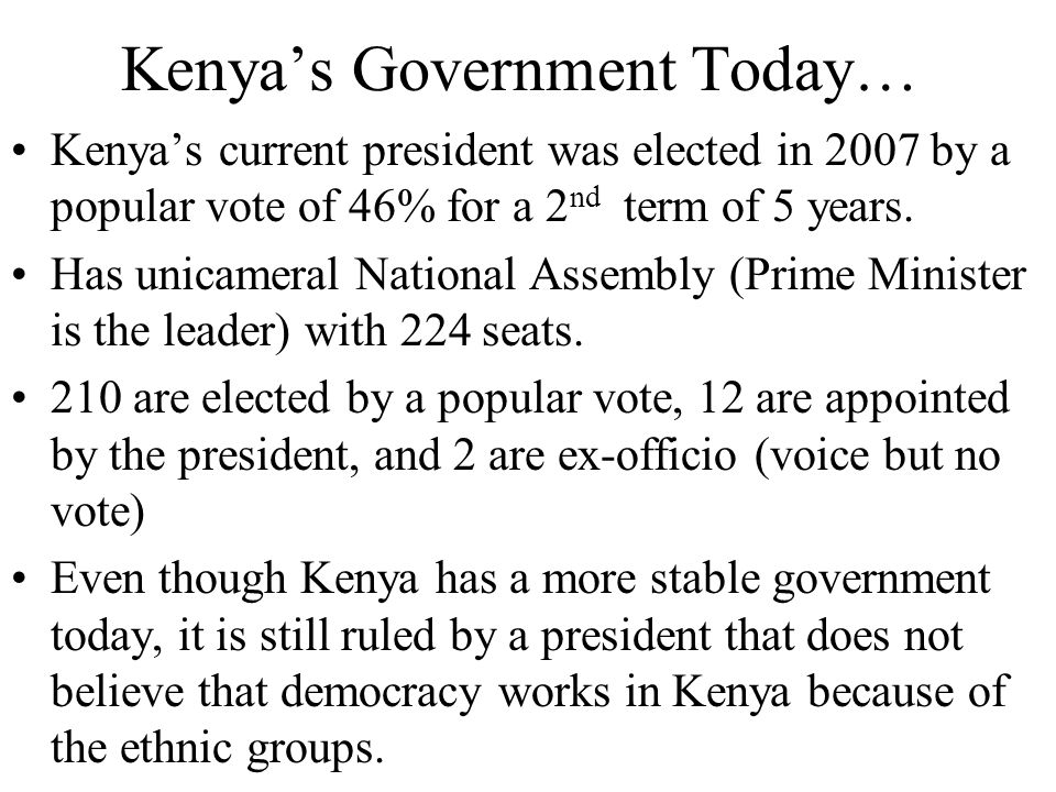 Kenya's Government Today…